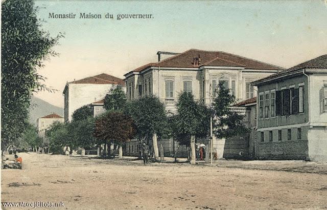 Булеварот покрај реката Драгор кон Пелистер со куќата на градоначалникот (гувернерот) на разгледница од 1907 година. (Денес Ректорат на Униерзитетот во Битола).