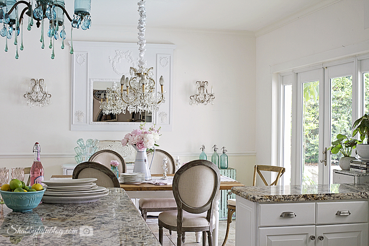Nice My French farmhouse style dining area marble counter tops and a french style dining table
