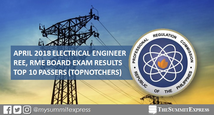 Top 10 Passers: April 2018 Electrical Engineer REE, RME board exam result