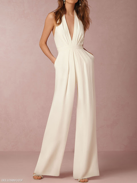 Halter Pocket Plain Wide-Leg Jumpsuit -White