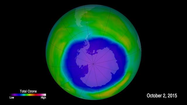 Lỗ hổng tầng ozone bên trên Nam Cực đã được thu hẹp khoảng 2,7 triệu km vuông kể từ năm 2000 tới nay. Credit : NASA Goddard.