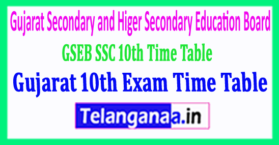 GSEB SSC Time Table Download Gujarat 10th Exam Time Table 2018