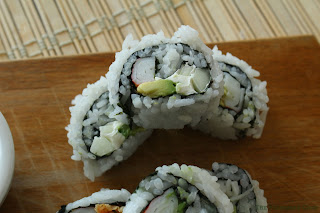 close up of my version of a California Roll