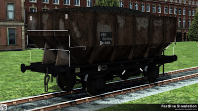 Fastline Simulation: This battered dia 1/143 21T hopper is showing considerable signs of corrosion and carries the HTO TOPS code with the data panel on a black painted patch.