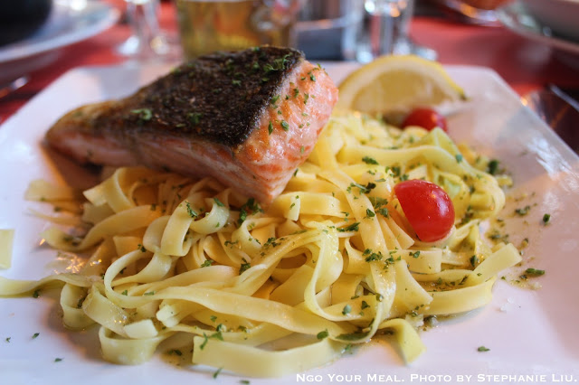 Salmon and Pasta at Le Suffren