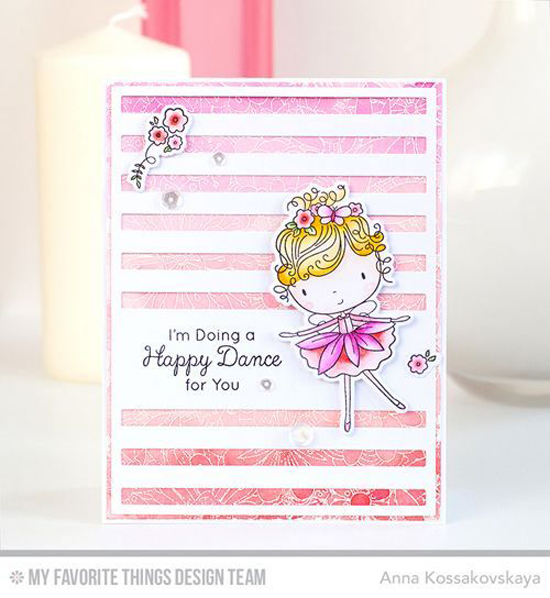 Handmade card from Anna Kossakovskaya featuring Beautiful Girl stamp set and Die-namics, Beautiful Blooms Background stamp, and Striped Sentiment Strip Cover-Up Die-namics #mftstamps