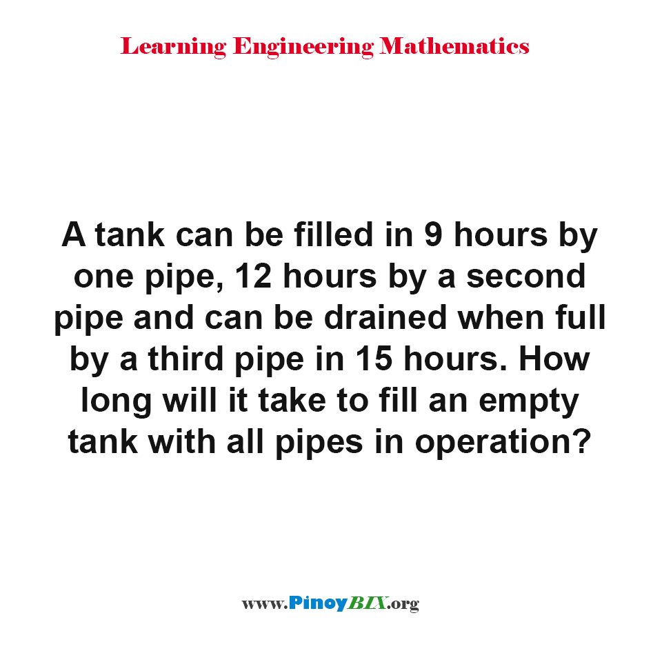 How long will it take to fill an empty tank with all pipes in operation?