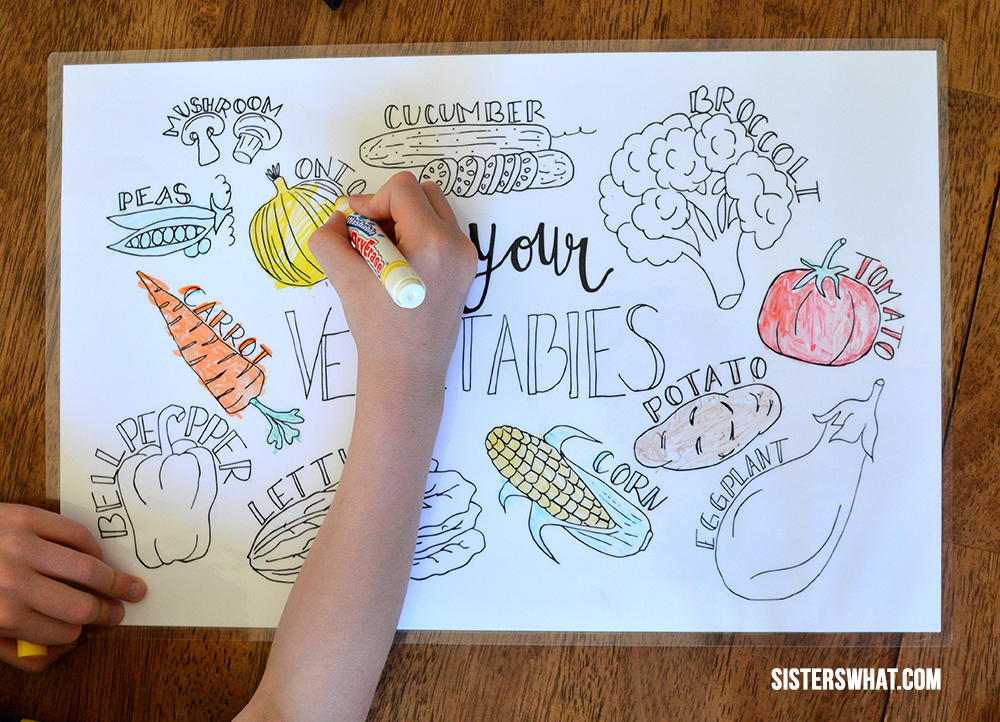 washable markers and laminated coloring page for kids during dinner