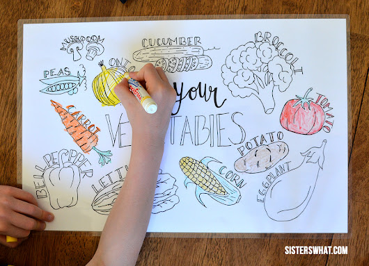 Free Vegetable Printable Coloring Page Place Mat and Green Beans Recipe