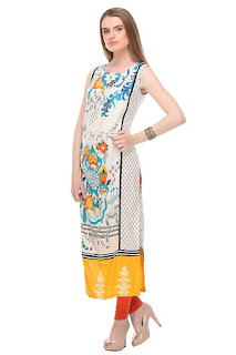Rs. 934 Rayon White Mix Straight Fit W Kurta by FashionDiya