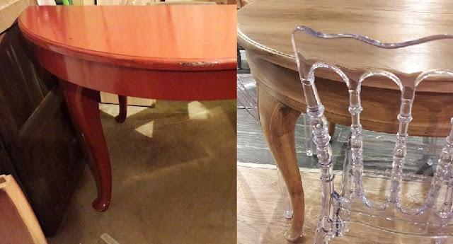 Orzechowy stół z giętymi nogami