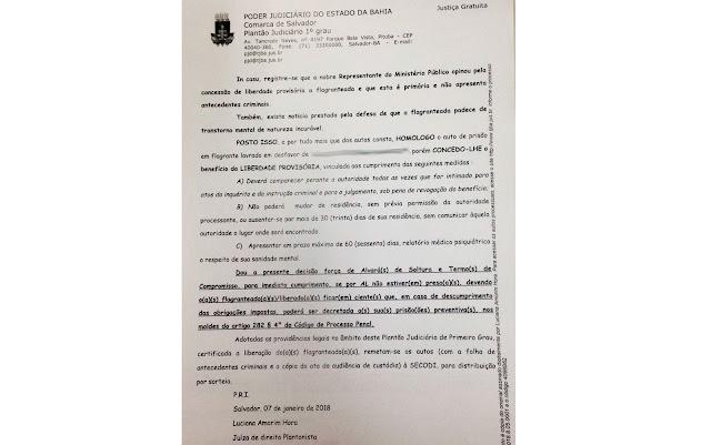 Liberdade provisória foi concedida em audiência de custódia neste domingo (Foto: Tribunal da Justiça da Bahia)