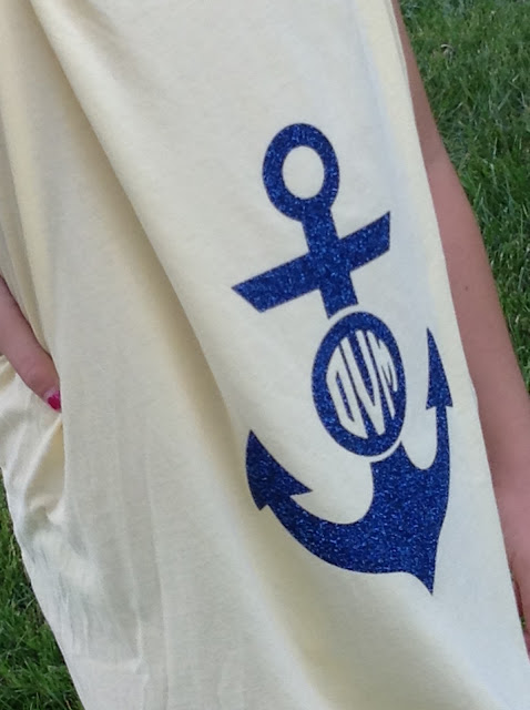 Silhouette Cameo, Silhouette Studio, monogram, anchor, beach cover up, men's t-shirt