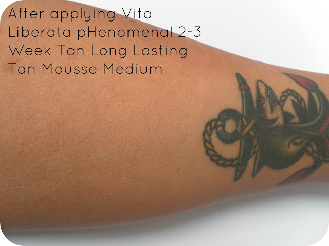 After applying Vita Liberata pHenomenal 2-3 Week Tan Long Lasting Tan Mousse