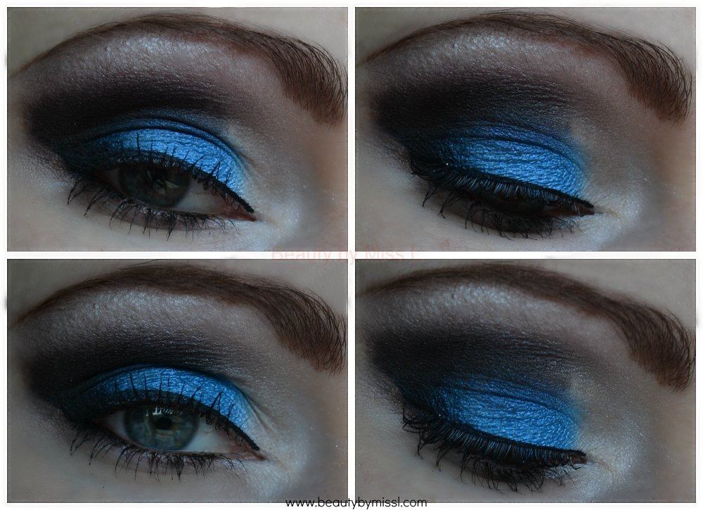 blue black white smoky eye makeup