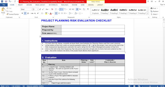 Project Planning Risk Evaluation Checklist