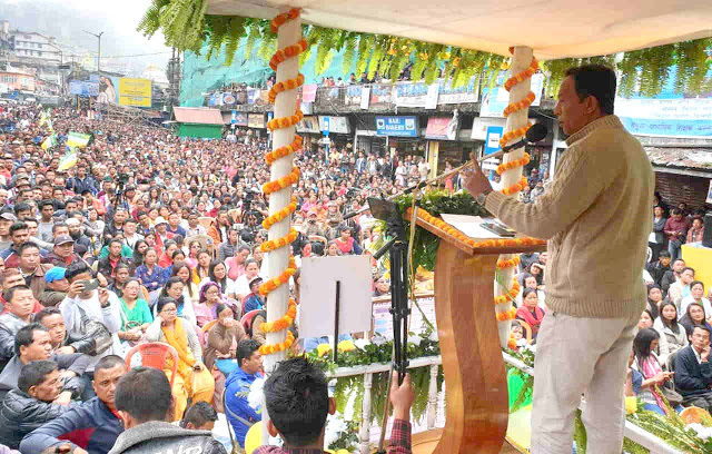 Binay Tamang addressing people from Darjeeling MLA Election Campaign