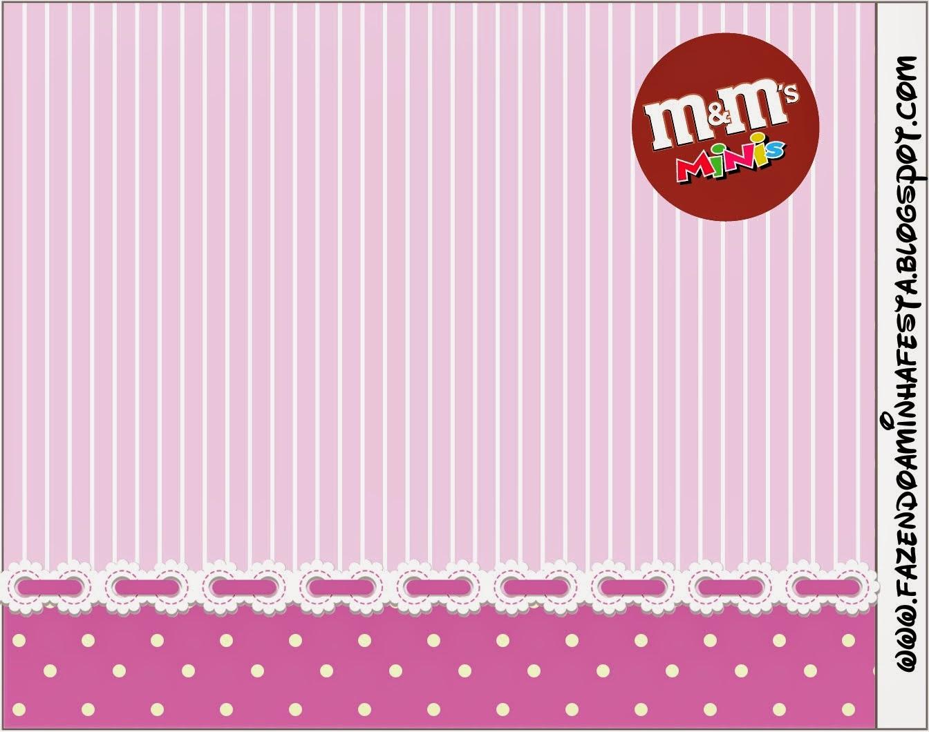 Etiqueta M&M para Imprimir Gratis de Rayas y Lunares en Lila y Blanco.