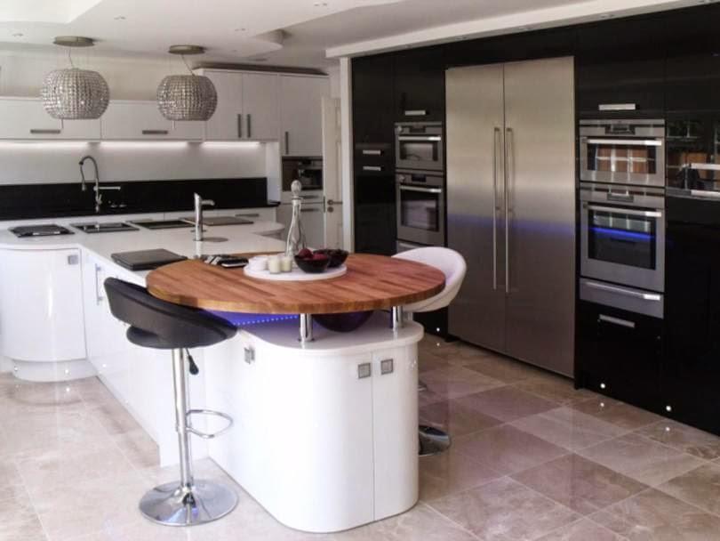 30 modelos de mesas y barras para cocinas de todos los for Altura barra cocina