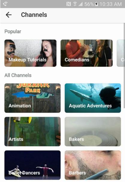 Channel Menu list