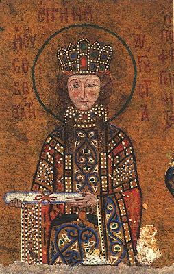 Αποτέλεσμα εικόνας για Αγία Ειρήνη η βασιλίσσα, της διά του αγίου και αγγελικού σχήματος μετονομασθείσης Ξένης Mοναχής 13 Αυγούστου