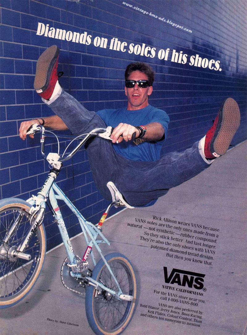 e21296706c5d89 Vintage BMX Ads  VANS - Diamonds on the soles of his shoes.