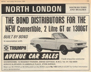 Avenue Car Sales advert from Motor 19 October 1968