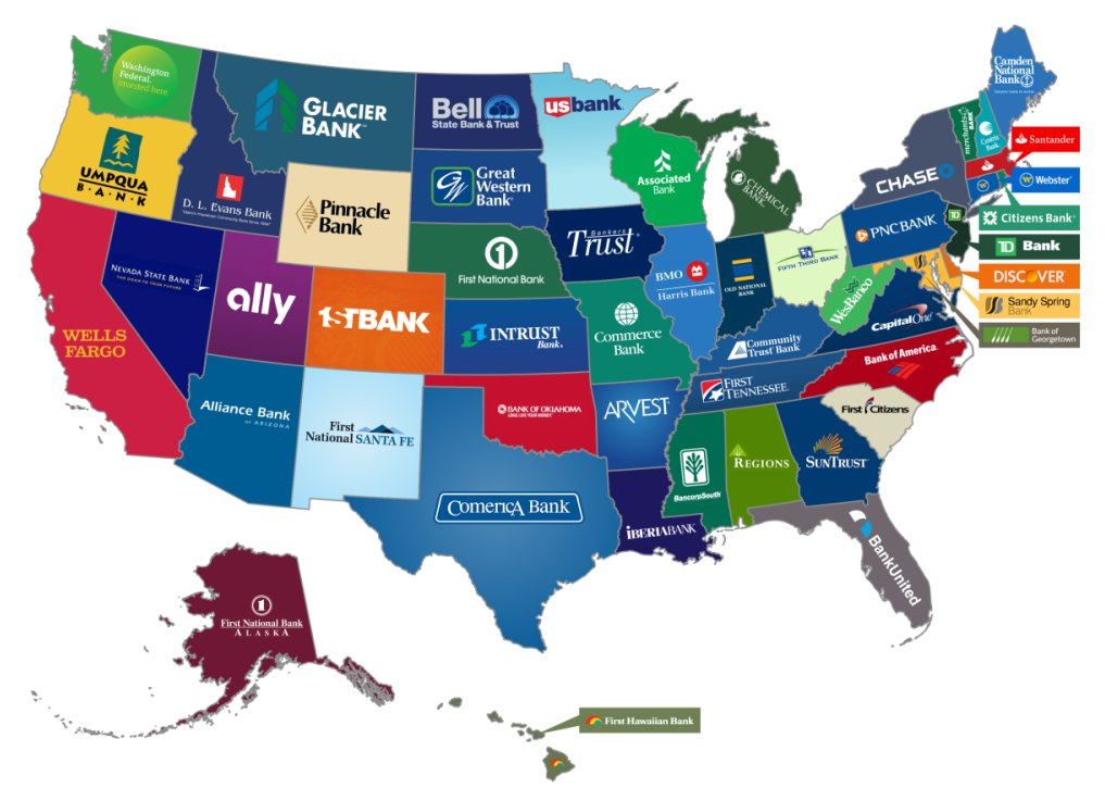 The biggest bank from every U.S. state