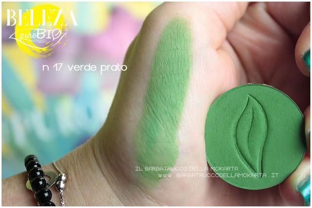 swatches beleza purobio eyeshadow ombretti 17 verde prato