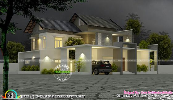4 bedroom modern mix home design