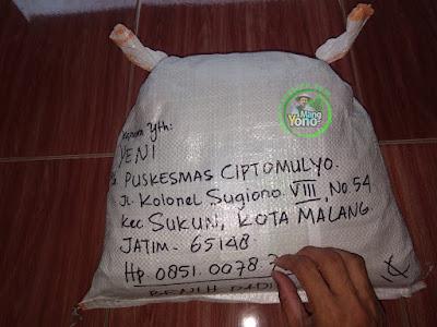 Benih Padi TRISAKTI Pesanan  YENI Kota Malang, Jatim.    (Sesudah di Packing)