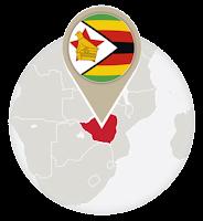 Zimbabwean flag and map