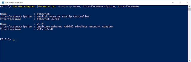 PowerShell cmdlet Get-NetAdapter |fl - Property