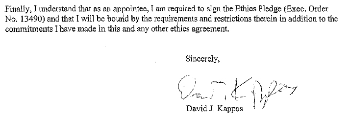 David J. Kappos Ethics in Government Pledge, Jun. 02, 2009