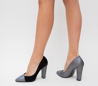 Pantofi de ocazii cu toc gros nergri cu gri eleganti din gliter