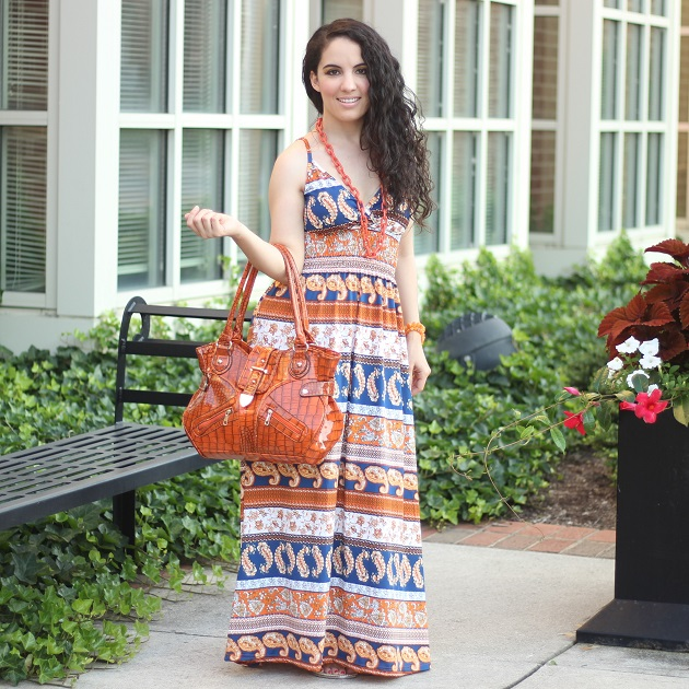 Orange and Blue Print Maxi Dress