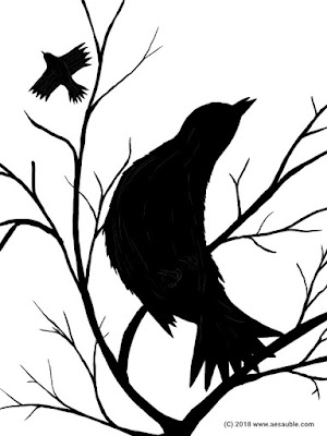 black and white drawing of a crow