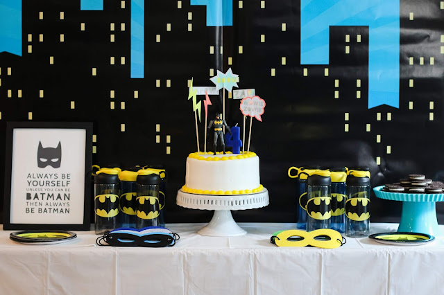 Batman Party Dessert Table with Easy Batman Cake and Supehero Party favors