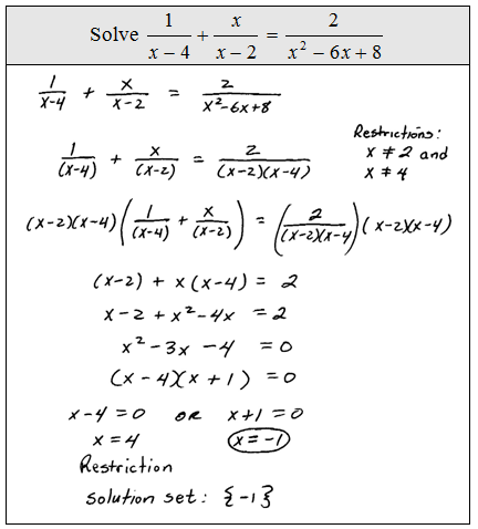 how to solve for fractional algebraic equations