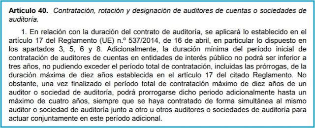 artículo 40 de la Ley 22/2015, de Auditoría de Cuentas (LAC)