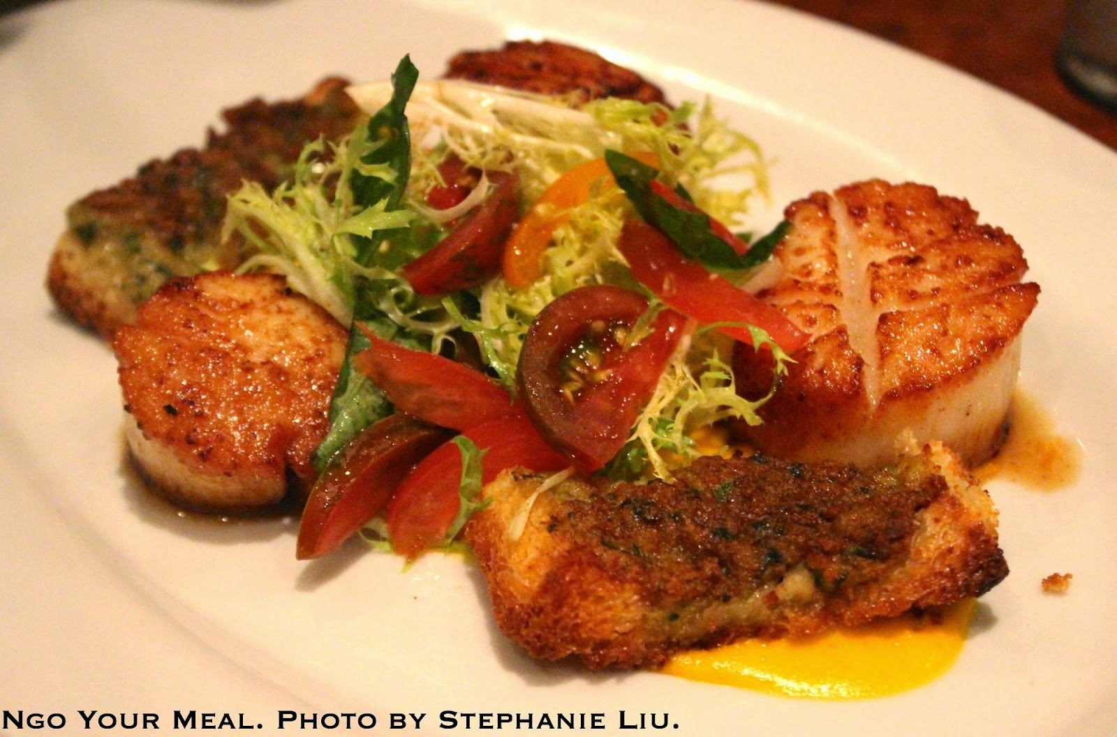 Seared Diver Scallops with Shrimp Toast, Tomato Fondue, and Basil Salad at Jane
