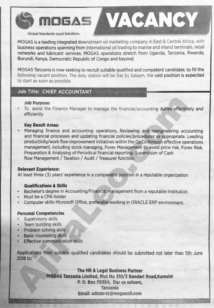 Chief Accountant Job Opportunity at MOGAS Tanzania Deadline 5th - Accounting Job Titles