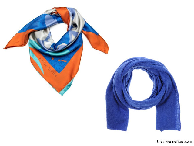 two scarves, in orange, bright blue and white