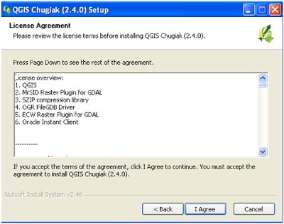 QGIS intallation. License Agreement