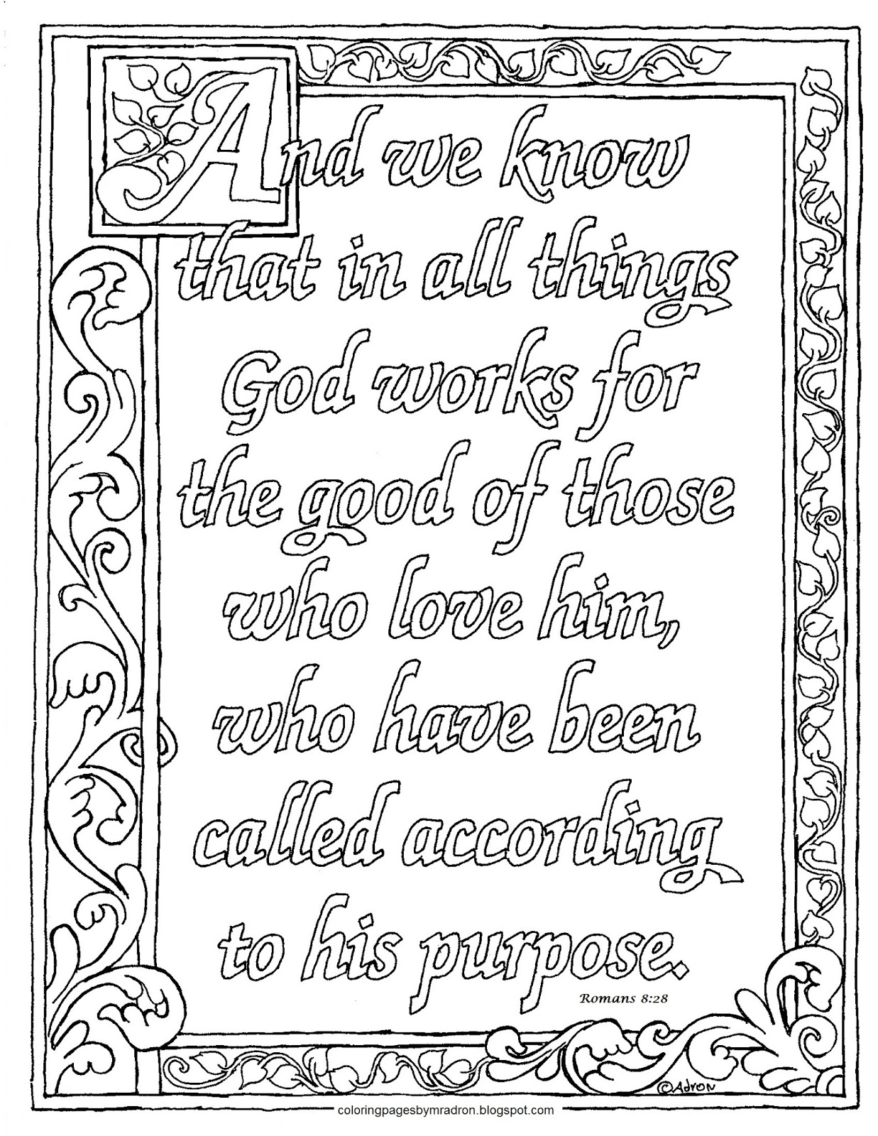 Coloring Pages For Kids By Mr Adron Printable Romans 8