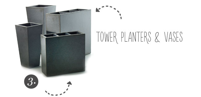 Tower Planters - Light weight for outdoor garden spaces and events - from Accent Decor