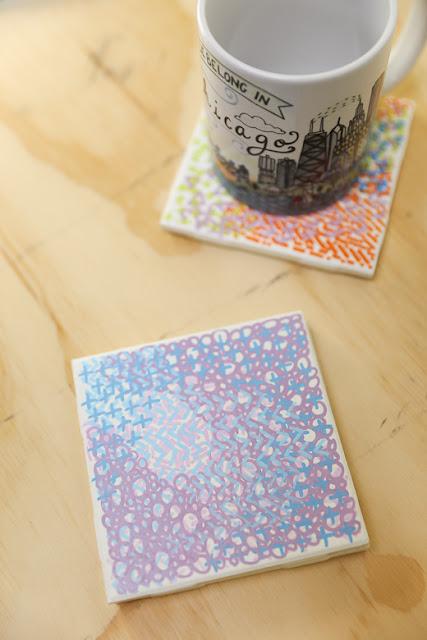 D.I.Y doodle coasters