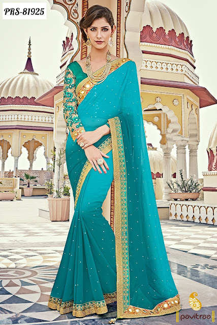 turquoise color royal party wear sarees online shopping India