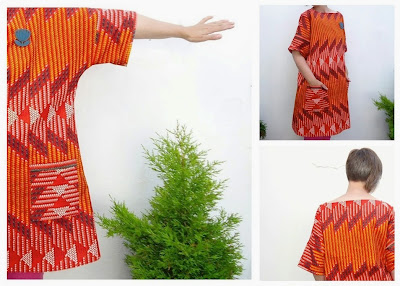 Box dess D in red Java print cotton