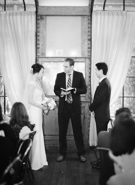 The sweet vow ceremony for Jihyea and Ben's intimate wedding at Locanda Verde | Karen Hill Photography